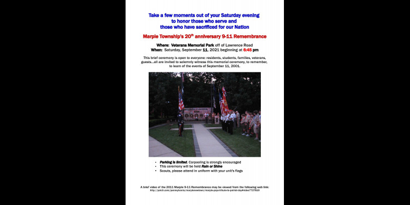Image for PATRIOT DAY - 20TH ANNIVERSARY COMMEMORATION